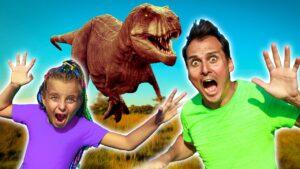 Magic Portal to Jurassic World | Adi and dad pretend play with Dinosour Fursiki show